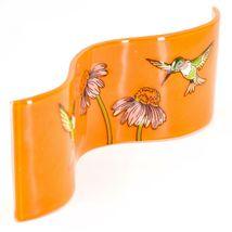 Fused Art Glass Hummingbird & Wildflower Wavy Décor Sun Catcher Handmade Ecuador image 4