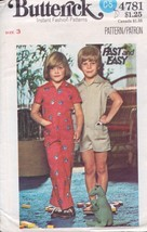 Butterick 4781 Children's Jumpsuit in Two Lengths Size 3 Vintage 1977 - $4.74