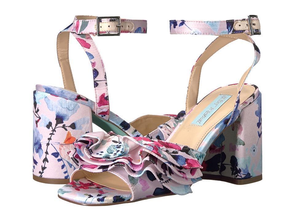 Betsey Johnson 4 Ruffle FLIRT Floral Blush Satin Block Heel Sandals Womens NEW