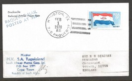 1978 Paquebot Cover South Africa stamp used in Houston, Texas (Feb 1) - $5.00