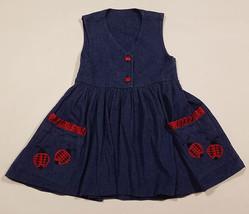 AUSTIN & ASHLEY GIRLS SIZE 5 DRESS JUMPER RED LADYBUGS POLKA DOTS BUTTON... - $9.25