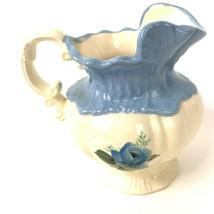 Vintage Arnels Blue Rose Creamer Pitcher Vase Shabby floral pottery 1975 - $19.79