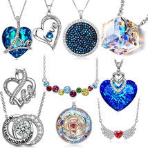 "ITALY 18k White Gold Bermuda Blue Heart Necklace 18"" with Swarovski Crys... - $7.99"