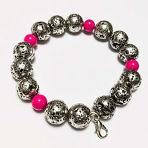 Silver Charm Bracelet - 24cm in length - Silver and Pink - Lobster Clasp Closure - $20.00