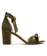 Vegan Sandal Middle Chunky Block Heel Peep Toe Ankle-Strap Knot Green Ca... - $117.00