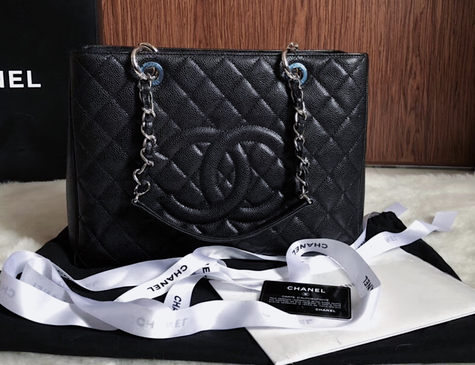 AUTHENTIC NEW CHANEL QUILTED CAVIAR GST GRAND SHOPPING TOTE BAG BLACK SHW