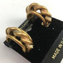 Vintage Braided Hoop Clip On Earrings Enamel Gold Tone NOS Textured - $7.87