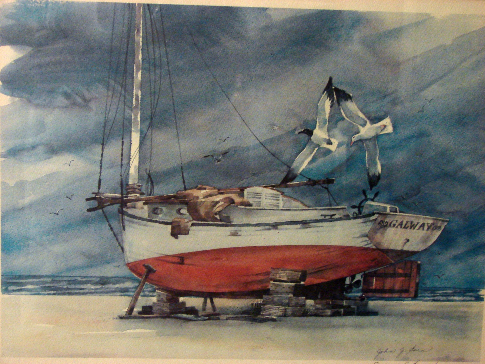 Framed, Matted and Signed  John J. Coen Sailboat Print Galloway