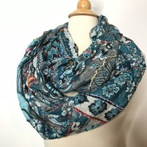 Raj Multicolor Abstract Floral Infinity Scarf Made in India 100% Rayon - $25.62