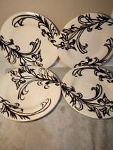 (4)  TABLETOPS GALLERY DINNER PLATES  ANTIQUE FERN  BLACK / WHITE-FREE S... - $37.07