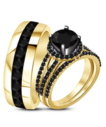 14k Yellow Gold Finish 925 Sterling Silver Black Diamond His & Her Trio ... - £95.57 GBP