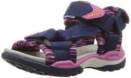 Geox Borealis Girl 7 Sandal, Navy/Fuchsia 38 M EU Big Kid 5.5 US - $91.13