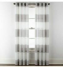 (1) JCP Home Metallic Stripe Skyline Silver Gray  Grommet Sheer Curtain ... - $37.39