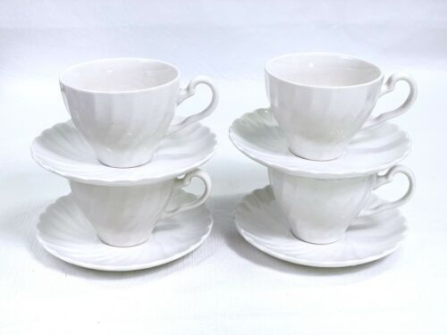 Vtg Johnson Brothers Ironstone Cup Saucer Set of 4 Regency White Swirl Crazing A - $19.59