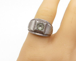ESPO 925 Sterling Silver - Vintage Topaz Etched Detail Band Ring Sz 8 - ... - $46.84