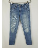 American Eagle Outfitters women jeans super stretch jegging distressed p... - $27.71