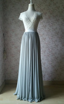 Silver Gray Chiffon Bridesmaid Skirt Floor Length Chiffon Wedding Party Skirt image 5