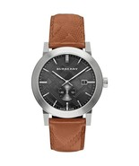 "Burberry Men's Watch BU9905 ""The City"" Silver Black Chrono Dial Brown Le... - $219.00"