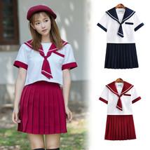 Japanese School Uniform JK Women Girl Short Sleeve Sailor Collar Costume... - $35.99