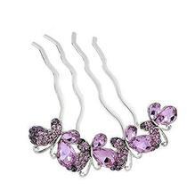 European Style Hair Comb Metal Bowknot Rhinestones Hair Decoration, Purple - $17.23