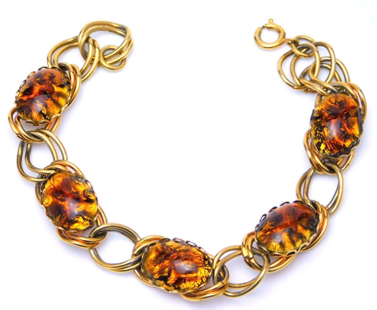 Vintage Gold Chain Link Bracelet w/Black And Gold Bezel Set Confetti Cabochons
