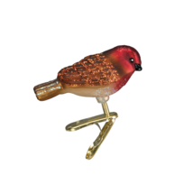 OWC MINI SONGBIRD RED-HEADED FINCH CLIP-ON GLASS CHRISTMAS ORNAMENT 18042 - $8.88