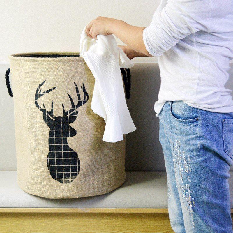 FULLLOVE® 40*50cm Elk Print Laundry Basket Fabric Basket Clothes Organizer
