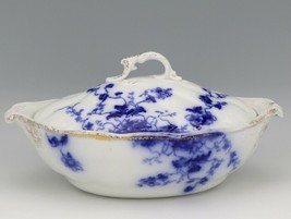 Flow Blue Duchess Oval Covered Vegetable Dish c1900 Grindley England