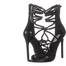 Steve Madden Strappy Heeled Sandals 695, Black Patent, 8 US - $28.79