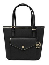 MICHAEL Michael Kors Specchio Leather Snap Pocket Tote (Black) - $198.00