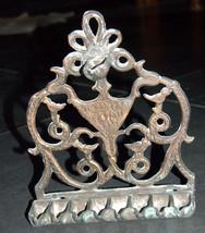 Judaica Vintage Hanukkah Oil Menorah Salonika Hebrew Bible Verse Bird Ornament image 2