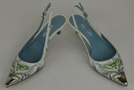 Prada Sling Back Kitten Heel Pointy Toe Pumps Size 36.5 Italy Artsy Colo... - $148.94