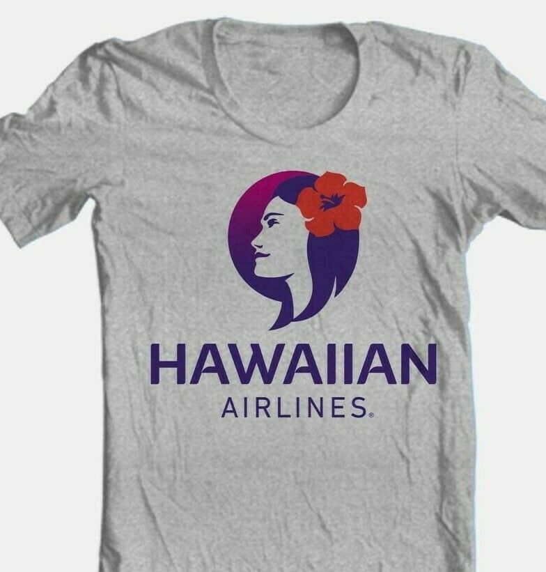 Hawaiian Airlines T-shirt Free Shipping cotton blend graphic Hawaii grey tee