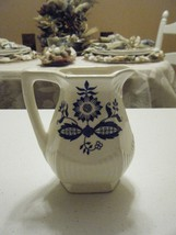 VINTAGE IVORY AND ROAYL BLUE DESIGN SMALL PITCHER WITH FLOWERS 4.75 HIGH - $16.82