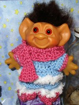 "WINTER TROLL 6"" Uneeda Wishnik Elf Shoes Scarf Pants Sweater nik dolls C... - $18.56"