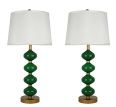 Urbanest Set of 2 Beautor Table Lamps in Gold and Fern Green Glass with ... - $83.15