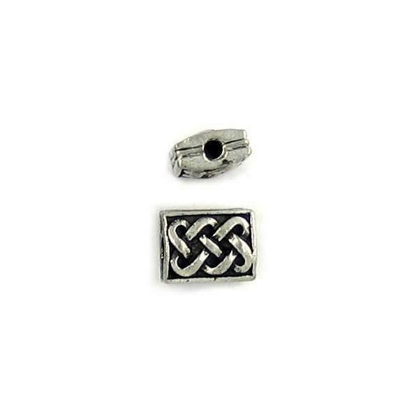CELTIC RECTANGULAR FINE PEWTER BEAD - 13mm L x 13mm W x 5mm D; Hole 2.5mm