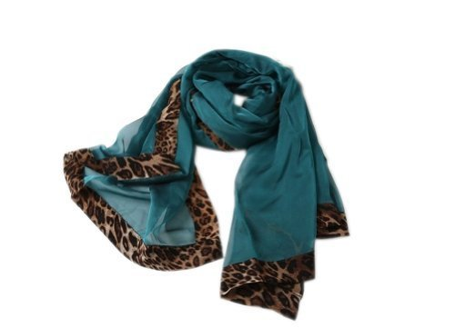 Fashion Nice Woman and Girl Leopard Solid Infinity Chiffon Scarf Shawl Green