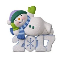 Hallmark Keepsake 2017 Frosty Fun Decade Lounging Snowman Dated Christmas Orname - $16.83