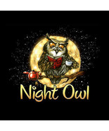 Night Owl T-shirt S M L Black Gildan Unisex NWT Humor Insomnia Wise Fun ... - $20.20