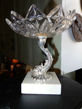 MARBLE BASE,CUSTOM FISH PEDISTAL,GLASS BOWL TOP CANDY OR COIN DISH,OLD A... - $42.75