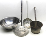 4 pc Lot 3 Stainless Steel Strainers+Primitive Handmade Metal Dipping Sieve