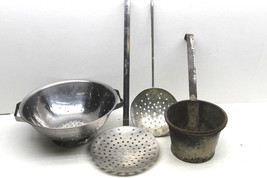 4 pc Lot 3 Stainless Steel Strainers+Primitive Handmade Metal Dipping Sieve - $29.91