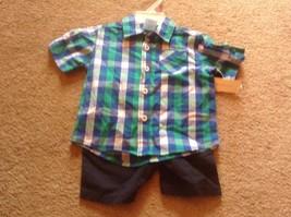 boys sz 12 mo wonder kids blue green casual shirt & shorts set new nwt outfit - $9.46