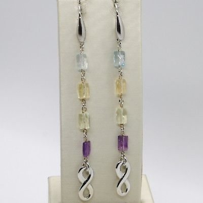 925 STERLING SILVER PENDANT EARRINGS, INFINITE, AMETHYST, CITRINE, LEMON QUARTZ