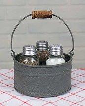 Country Galvanized Salt and Pepper Shaker Set Toothpick Holder - $35.63