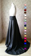Women High Waisted Black Maxi Skirt Pleated Maxi Skirt with Train Evening Skirt image 5