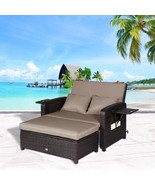 2 PC Outdoor Rattan Wicker Sofa Loveseat and Ottoman Furniture Set Loung... - $484.99