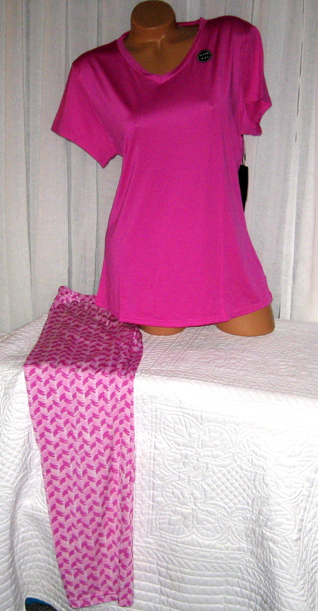Plus Size Stretch V Neck Pajama Set 1X Magenta Pink Super Soft