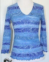 KENNY DANA Size small women's beautiful blue sheer top patterned Nordstrom - $9.89